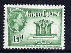 Gold Coast 1952-54 Emblem of Joint Council 1.5d unmounted mint from def set, SG 155