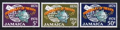 Jamaica 1974 Centenary of UPU perf set of 3 unmounted mint, SG 390-92