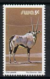 South West Africa 1980-89 Gemsbok 5c (chalky paper) from Wildlife Def set unmounted mint, SG 353a
