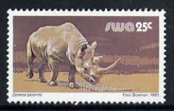 South West Africa 1980-89 Black Rhino 25c (chalky paper) from Wildlife Def set unmounted mint, SG 361a