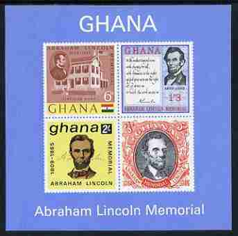 Ghana 1965 Death Centenary of abraham Lincoln imperf m/sheet unmounted mint, SG MS 376a