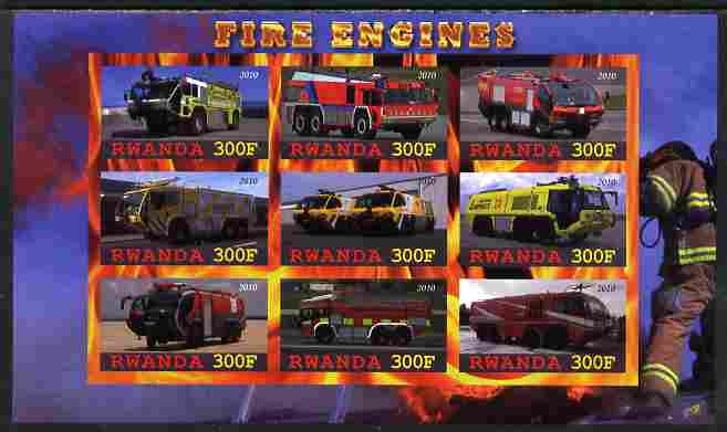 Rwanda 2010 Fire Engines imperf sheetlet containing 9 values unmounted mint