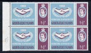 Gilbert & Ellice Islands 1965 International Co-operation Year 1/2d marginal block of 4 incl