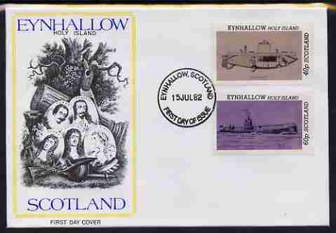 Eynhallow 1982 Submarines (Argonaut & U24) perf set of 2 values (40p & 60p) on illustrated cover with first day cancel