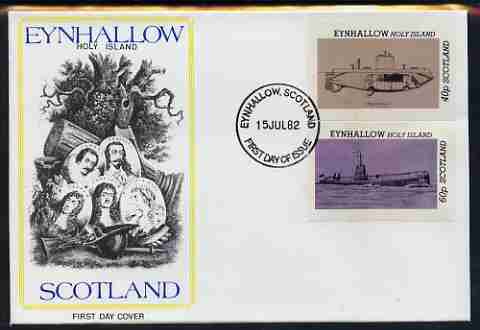 Eynhallow 1982 Submarines (Argonaut & U24) imperf set of 2 values (40p & 60p) on illustrated cover with first day cancel