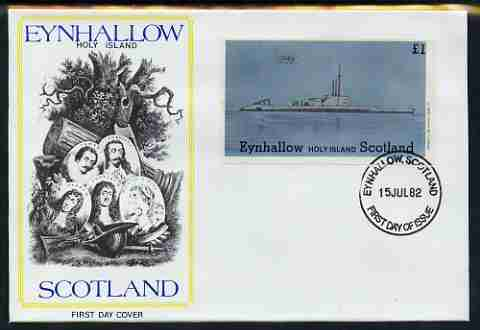 Eynhallow 1982 Submarines (Oxley) imperf souvenir sheet (\A31 value) on illustrated cover with first day cancel