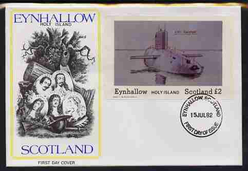 Eynhallow 1982 Submarines (HMS Revenge) imperf deluxe sheet (\A32 value)  on illustrated cover with first day cancel