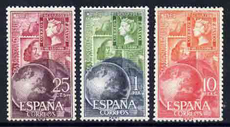Spain 1964 World Stamp Day perf set of 3 unmounted mint, SG 1656-58