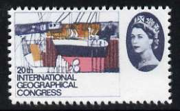 Great Britain 1964 Geographical Congress 4d (Shipbuilding Yard) with violet (face value) omitted,  'Maryland' perf forgery 'unused' as SG 652a - the word Forgery is either handstamped or printed on the back and comes on a presentation card with descriptive notes