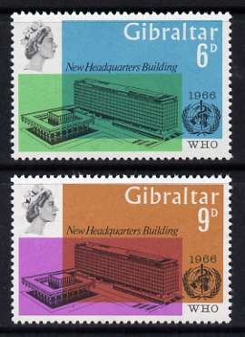 Gibraltar 1966 World Health Organisation perf set of 2 unmounted mint, SG 193-94
