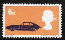 Great Britain 1966 British Technology 6d with red (Mini cars) omitted, a  'Maryland' perf 'unused' forgery, as SG 702a - the word Forgery is either handstamped or printed on the back and comes on a presentation card with descriptive notes