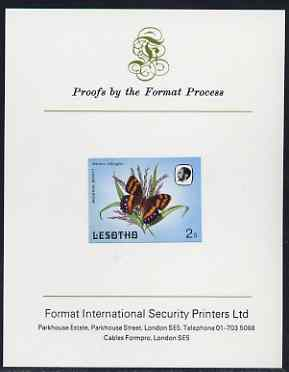 Lesotho 1984 Butterflies Mountain Beauty 2s imperf proof mounted on Format International proof card as SG 564