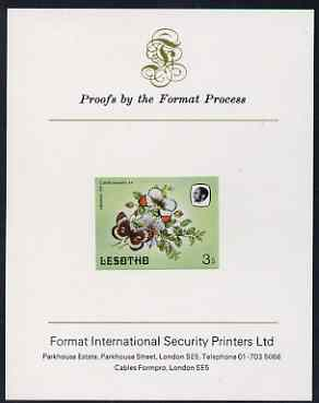 Lesotho 1984 Butterflies Orange Tip 3s imperf proof mounted on Format International proof card as SG 565