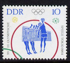 Germany - East 1964 Volleyball 10pf from Tokyo Olympic Games set unmounted mint, SG E762