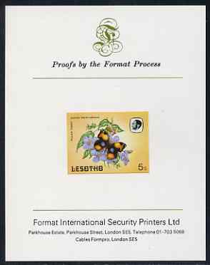 Lesotho 1984 Butterflies Yellow Pansy 5s imperf proof mounted on Format International proof card as SG 567