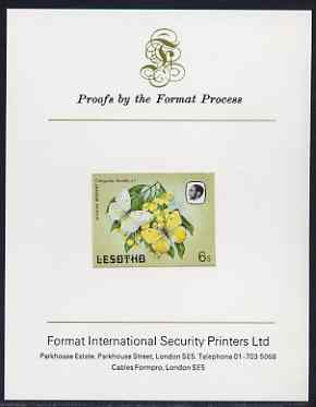 Lesotho 1984 Butterflies African Migrant 6s imperf proof mounted on Format International proof card as SG 568