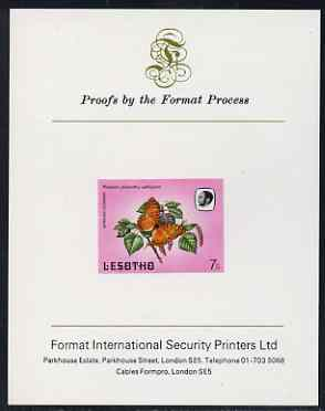 Lesotho 1984 Butterflies African Leopard 7s imperf proof mounted on Format International proof card as SG 569