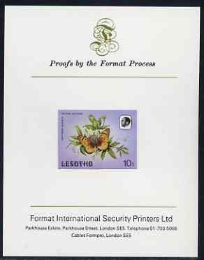 Lesotho 1984 Butterflies Suffused Acraea 10s imperf proof mounted on Format International proof card as SG 570