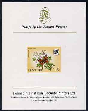 Lesotho 1984 Butterflies Painted Lady 15s imperf proof mounted on Format International proof card as SG 571