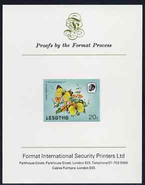 Lesotho 1984 Butterflies Lemon Traveller 20s imperf proof mounted on Format International proof card as SG 572