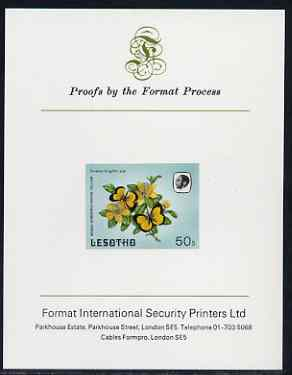 Lesotho 1984 Butterflies Broad-Bordered Grass Yellow 50s imperf proof mounted on Format International proof card as SG 574