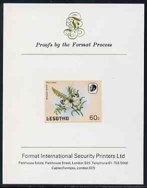 Lesotho 1984 Butterflies Meadow White 60s imperf proof mounted on Format International proof card as SG 575