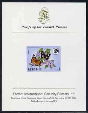 Lesotho 1984 Butterflies Diadem Butterfly 1m imperf proof mounted on Format International proof card as SG 577