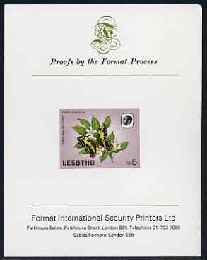 Lesotho 1984 Butterflies Christmas Butterfly 5m (top value) imperf proof mounted on Format International proof card as SG 578