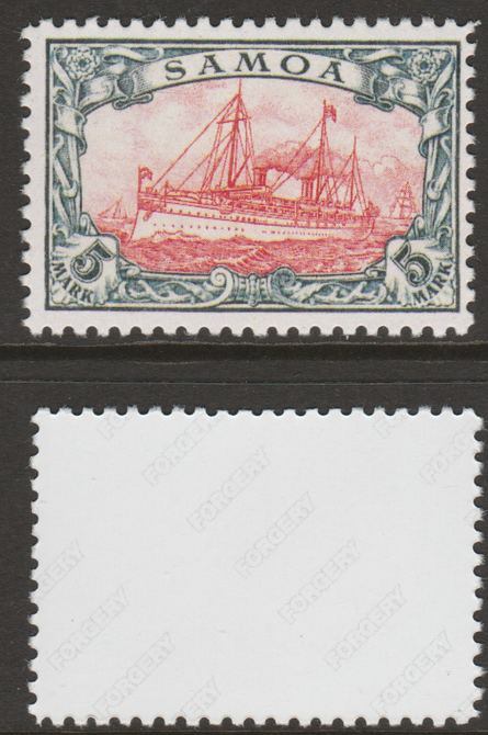 Samoa 1900 Yacht 'Hohenzollern' 5m  'Maryland' perf forgery 'unused', as SG G19 - the word Forgery is either handstamped or printed on the back and comes on a presentation card with descriptive notes