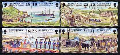 Guernsey - Alderney 1997 Garrison Island (1st series) perf set of 8 (4 se-tenant pairs) unmounted mint, SG A102-109