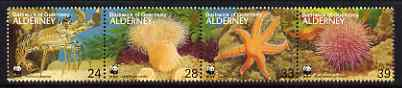Guernsey - Alderney 1993 WWF - Endangered Species - Marine Life perf strip of 4 unmounted mint, SG A56a