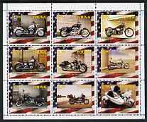 Touva 2003 Harley Davidson Motor Cycles perf sheetlet containing complete set of 9 values, unmounted mint