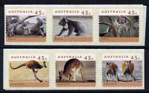 Australia 1994 Australian Wildlife (2nd Series) self adhesive strip of 6 unmounted mint (Cambec printing), as SG 1459-64