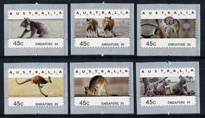 Australia 1994 Australian Wildlife (2nd Series) self adhesive set of 6 unmounted mint (inscribed Singapore 95), similar to SG 1459-64