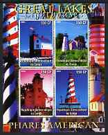 Congo 2004 Lighthouses of America (Great Lakes) perf sheetlet containing 4 values unmounted mint