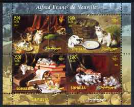 Somalia 2004 Paintings by Alfred Brunel de Neuville (Cats) perf sheetlet containing 4 values unmounted mint