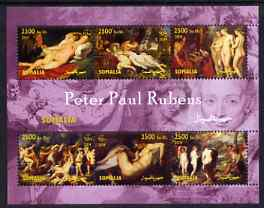 Somalia 2004 Nude Paintings by Peter Paul Rubens perf sheetlet containing 6 values unmounted mint