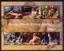 Somalia 2004 Nude Paintings by George Owen Wynne Apperley perf sheetlet containing 6 values unmounted mint