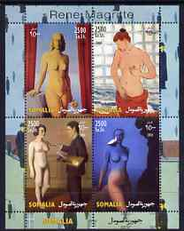 Somalia 2004 Nude Paintings by Rene Magritte perf sheetlet containing 4 values unmounted mint