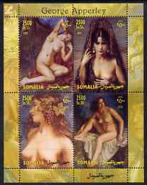 Somalia 2004 Nude Paintings by George Apperley perf sheetlet containing 4 values unmounted mint