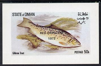 Oman 1973 Fish (Gilleroo Trout) opt'd Red Crescent imperf souvenir sheet (50b value) unmounted mint