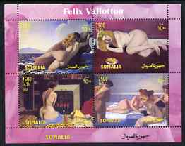 Somalia 2004 Nude Paintings by Felix Vallotton perf sheetlet containing 4 values unmounted mint