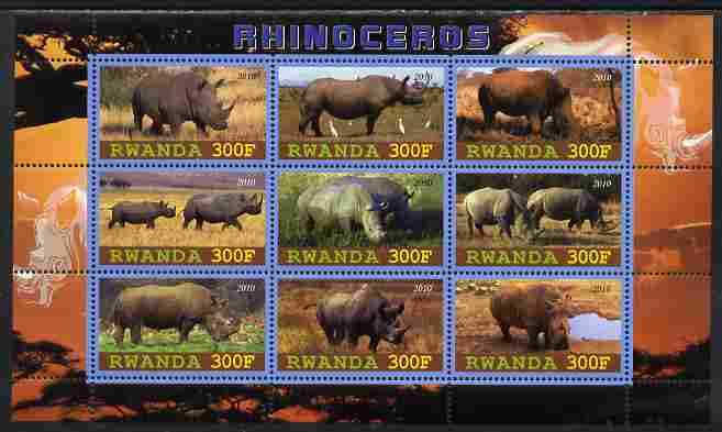 Rwanda 2010 Rhinoceros perf sheetlet containing 9 values unmounted mint