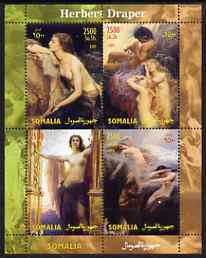 Somalia 2004 Nude Paintings by Herbert Draper perf sheetlet containing 4 values unmounted mint