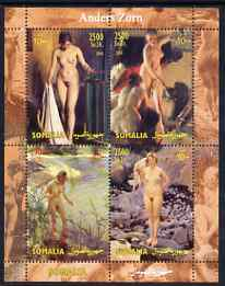 Somalia 2004 Nude Paintings by Anders Zorn perf sheetlet containing 4 values unmounted mint