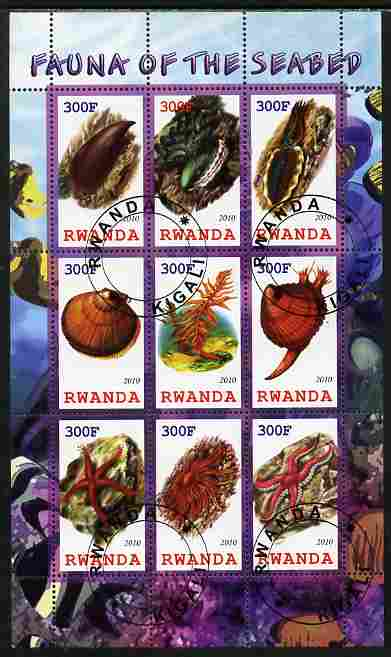 Rwanda 2010 Fauna of the Sea Bed perf sheetlet containing 9 values fine cto used