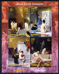Somalia 2004 Nude Paintings by Jean Leon Gerome perf sheetlet containing 4 values unmounted mint