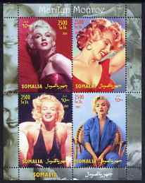 Somalia 2004 Marilyn Monroe #2 perf sheetlet containing 4 values unmounted mint