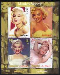 Somalia 2004 Marilyn Monroe #3 perf sheetlet containing 4 values unmounted mint