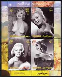 Somalia 2004 Marilyn Monroe #4 perf sheetlet containing 4 values unmounted mint